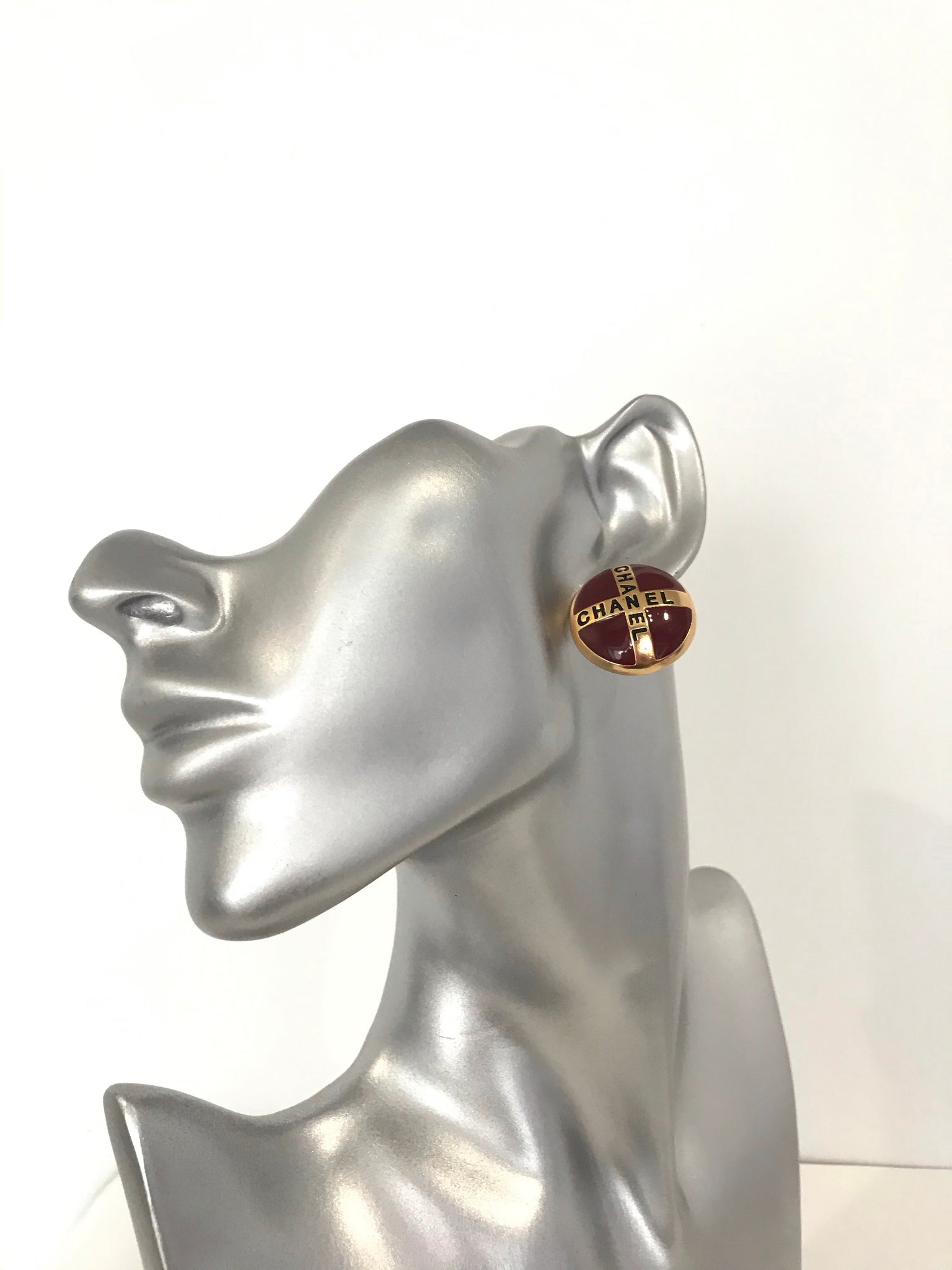 Chanel vintage large red button earring studs