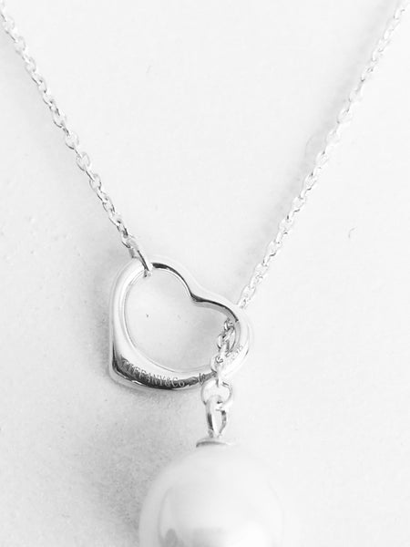 Tiffany &Co. pearl in heart pendant necklace