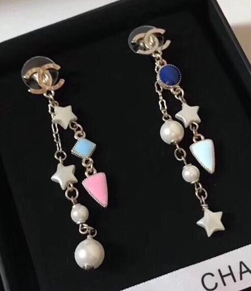 CHANEL STARS COLORFUL DANGLE EARRINGS