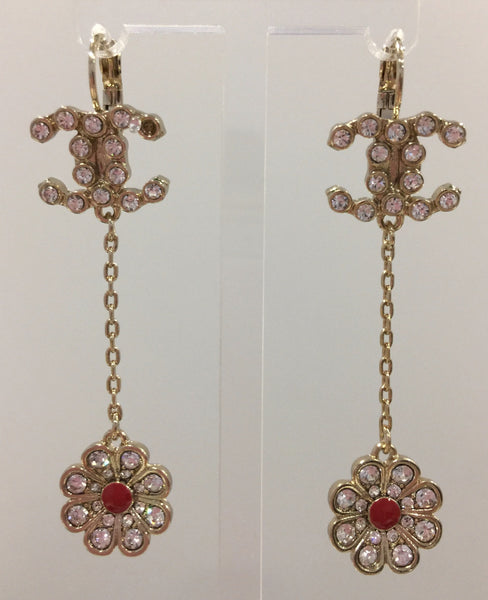 CHANEL CAMELLIA DANGLE EARRINGS STRASS RUBBY RED