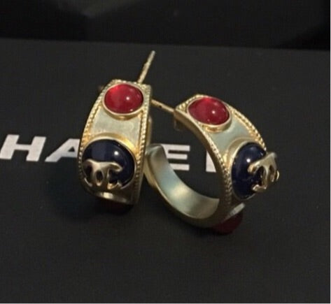 Chanel Jade Stones Hoop Pierced Earrings
