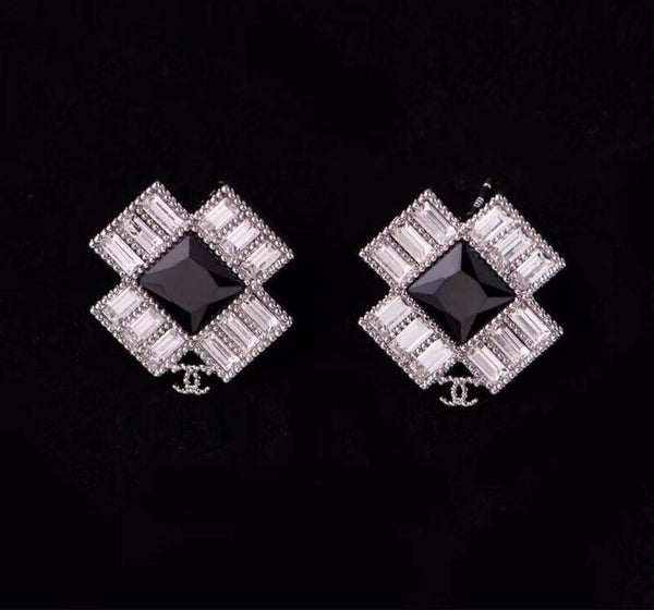 CHANEL BLACK STRASS EARRING STUDS