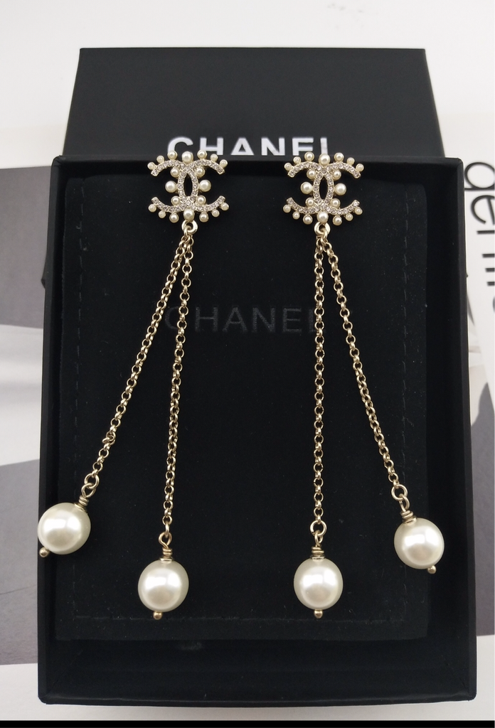 Chanel Pearl Pierced dangle Earrings