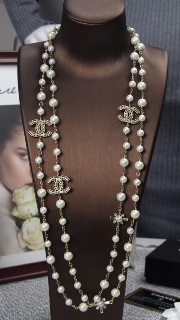 Chanel crystal long pearl necklace