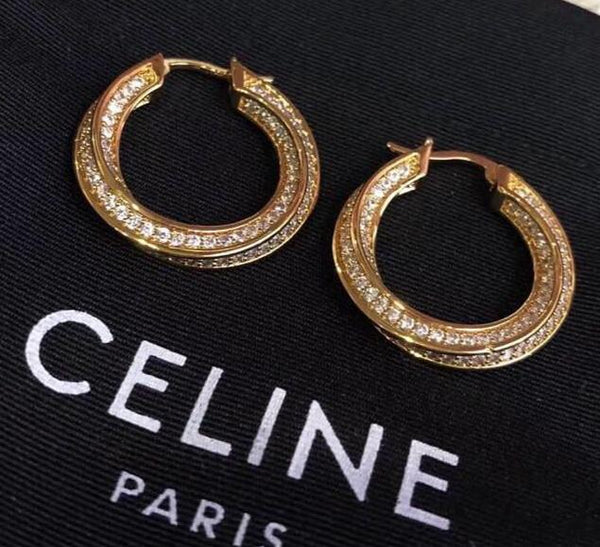 CELINE DIMOND HOOP EARRINGS