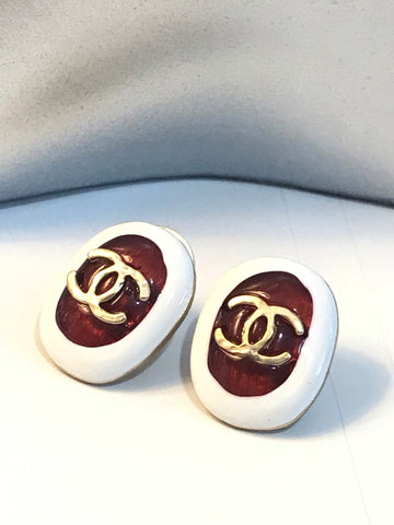 CHANEL Vintage Enamel Button EARRINGS
