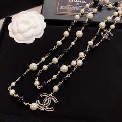 Chanel crystal long pearl necklace black