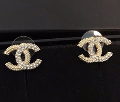 CHANEL mini CC logo Crystal EARRING STUDS