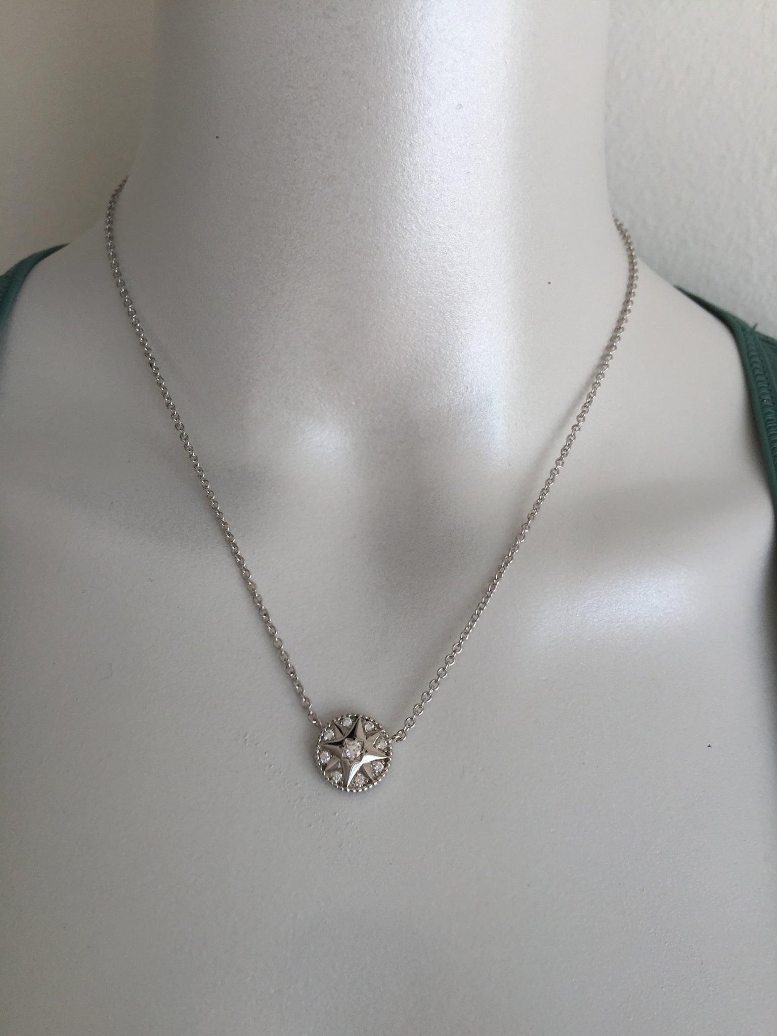 Christian Dior Crystal Rose Des Vents 18K WHITE GOLD AND DIAMONDS Necklace