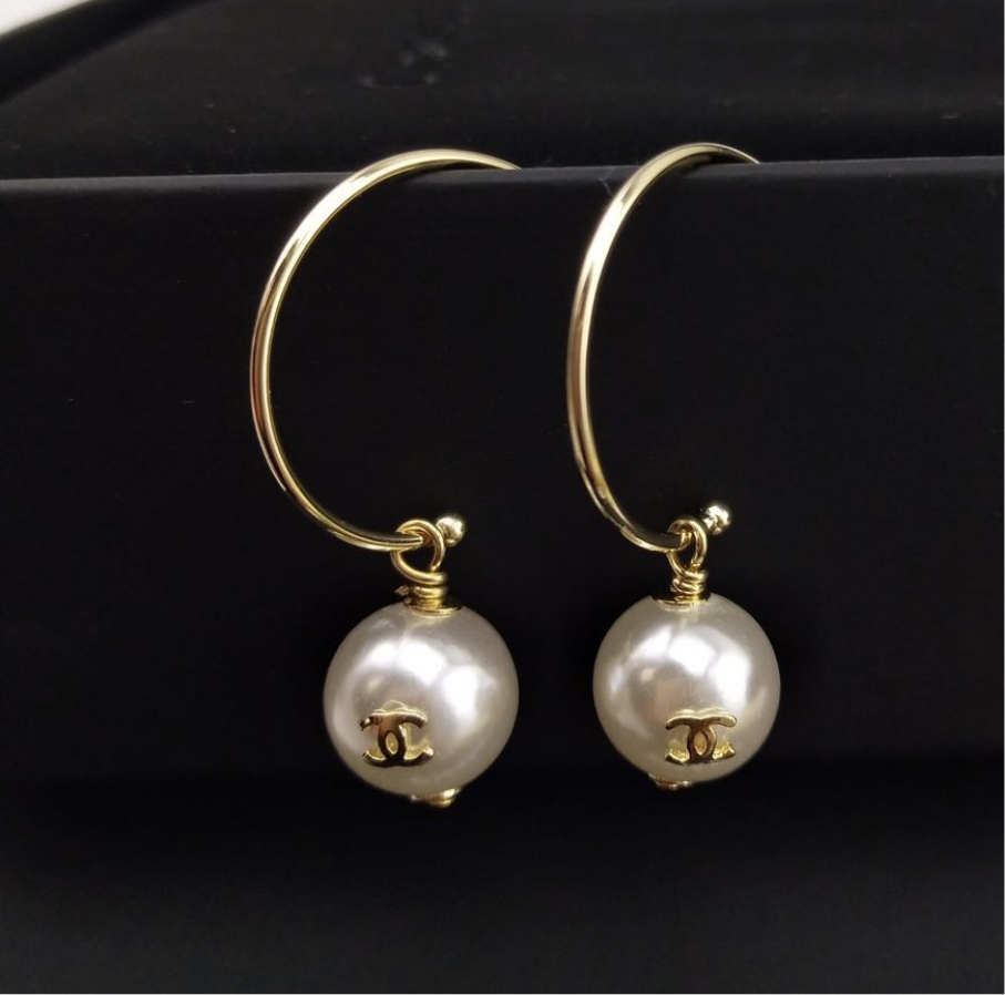 Chanel Hoop Dangle Earrings