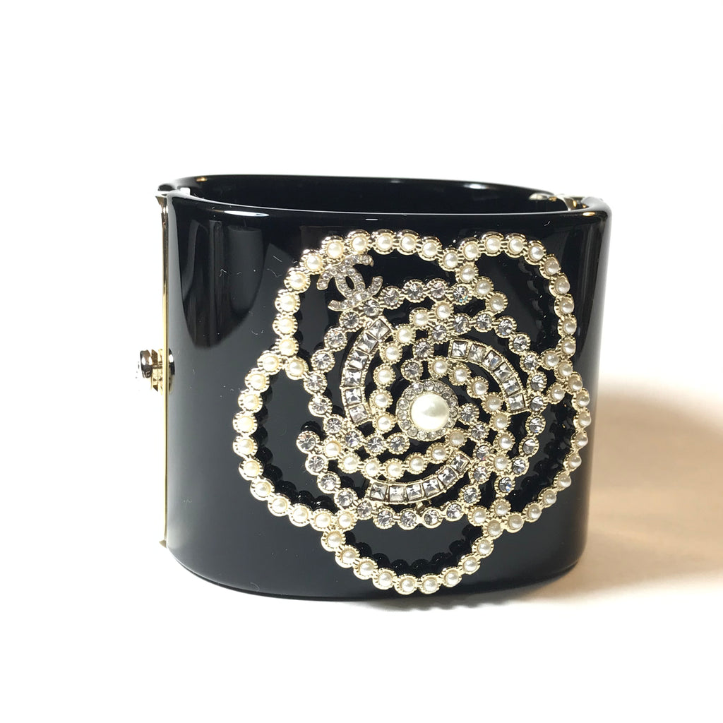 CHANEL Camellia Cuff Bangle Bracelet in gold tone