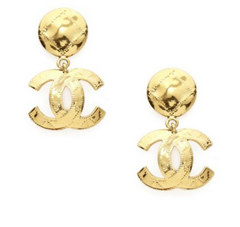 CHANEL EARRINGS DANGLE GOLD