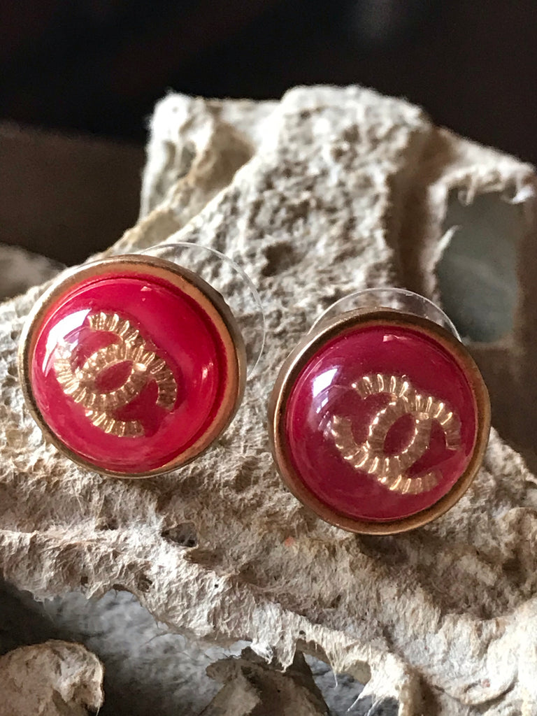 Chanel Earring Studs red gold