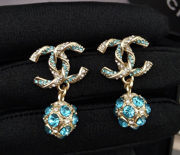 Chanel CC Blue Crystal Drop Earrings