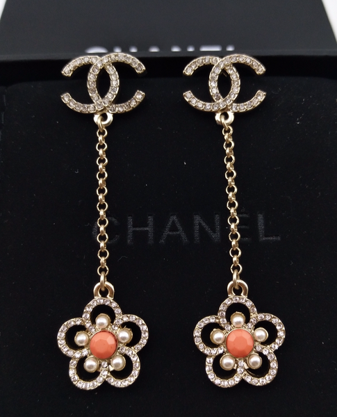 CHANEL CAMELLIA DROP DANGLE EARRINGS ORANGE