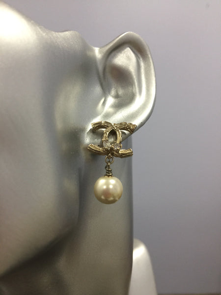 CHANEL CC Tree Branch DIAMOND SMALL DANGLE EARRINGS