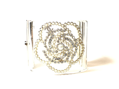 CHANEL Camellia Cuff Bangle Bracelet