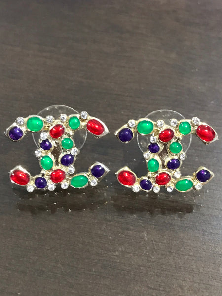 Chanel cc logo multi colorful crystal earring studs