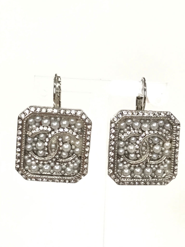 Chanel pearl hook earrings silver