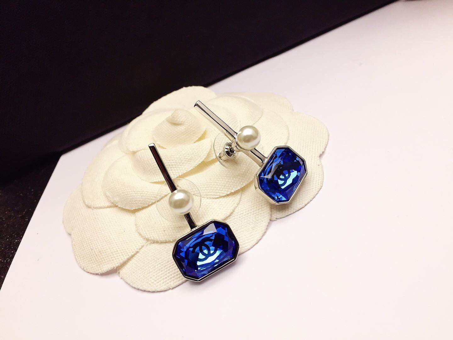 Chanel Crystal Earring Studs Blue