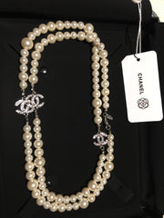 Chanel CC Logo White Long Pearl Necklace