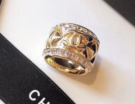 Chanel crystal ring band size 7/8