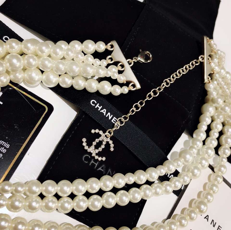 Chanel Five Strings White Pearl Necklace