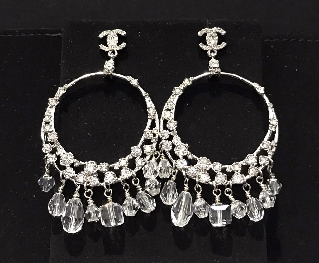CHANEL LARGE CRYSTAL CIRCLE PIERCED DANGLE EARRINGS