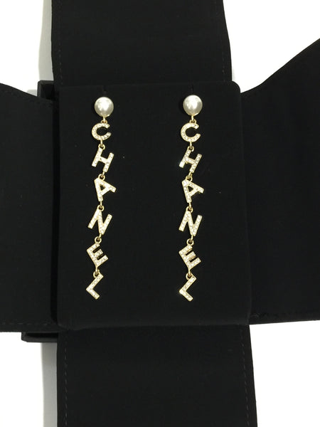 CHANEL LETTERS EARRINGS DANGLE