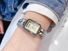 CHANEL NEW Premiere Quartz Wristwatch H0001 Leather Tank Belt Watch With Box Certificate Tote Bag