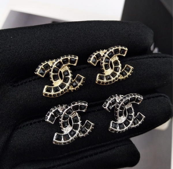 CHANEL CC logo BLACK STRASS EARRING STUDS