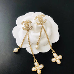 CHANEL FLORAL DROP DANGLE EARRINGS