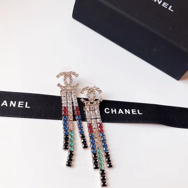 Chanel colored crystal dangle earrings