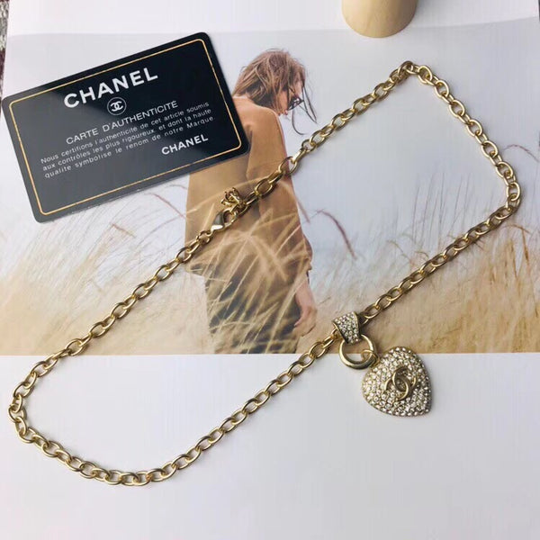 CHANEL CRYSTAL PENDANT HEART SHAPED CHAIN NECKLACE