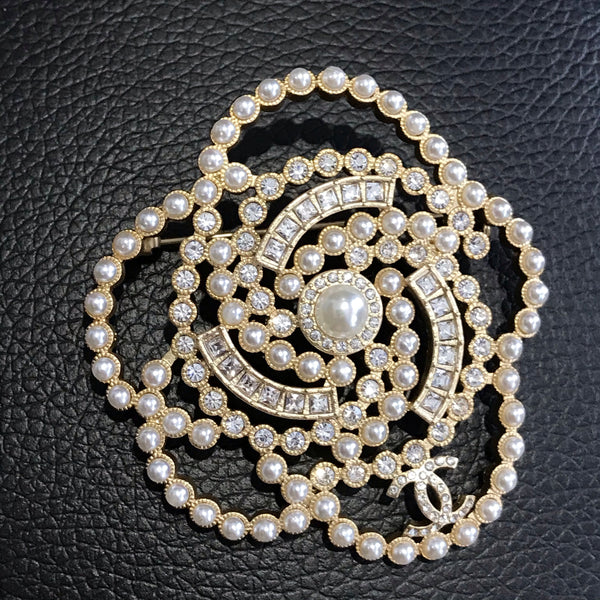 CHANEL PEARL CRYSTAL CAMELLIA BROOCH