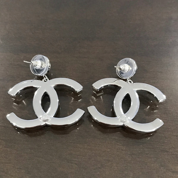 CHANEL Large CC CRYSTAL SILVER DANGLE EARRINGS