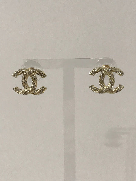 Chanel CC Logo crystal mini earring Studs tint gold