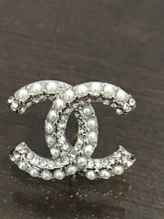 Chanel crystal pearl earring studs CC logo