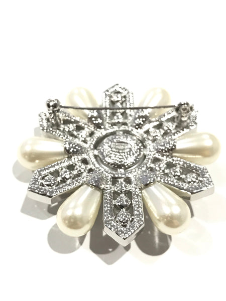 CHANEL CRYSTAL PEARL BROOCH