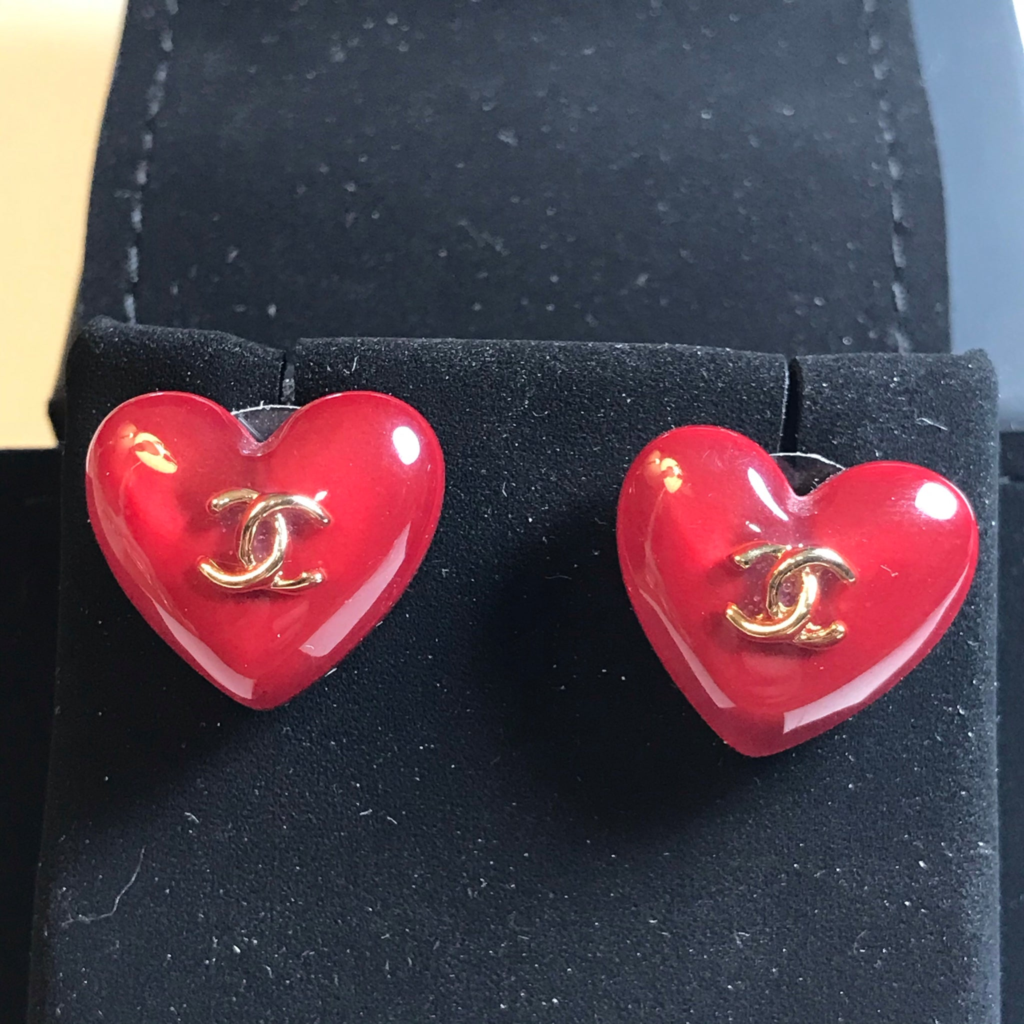 Chanel deep red heart shape earring studs