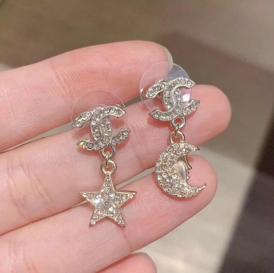 CHANEL CC Star Moon Crystal Earrings