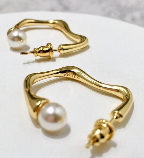 CELINE GOLD PEARL EARRINGS