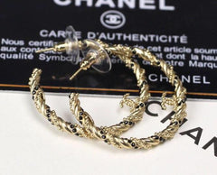 Chanel Pierced Hoop Crystal Earrings silver black