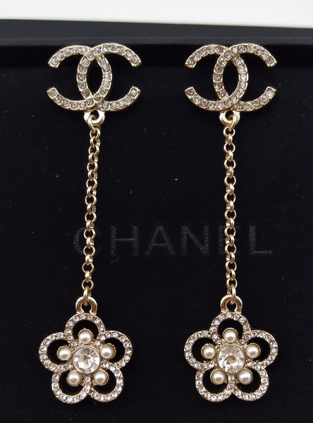 CHANEL CAMELLIA DROP DANGLE EARRINGS STRASS TRANSPARENT