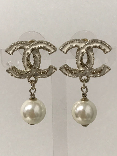 Chanel bridal shower wedding party pearl button earring studs