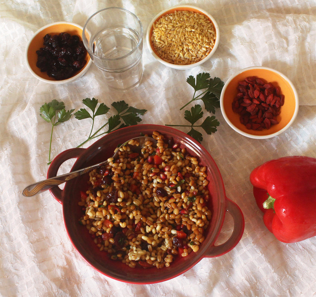 Wheat salad, delicious vegan recipe!
