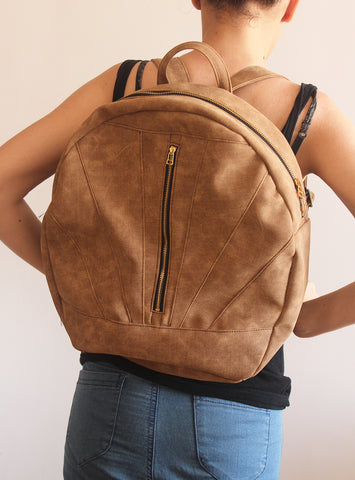 LYON BACKPACK, camel brown backpack.