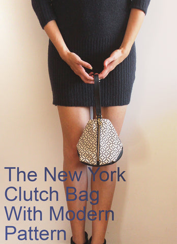 New York clutch bag with modern pattern