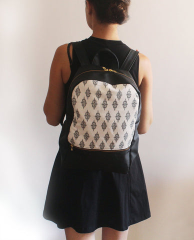 LARGE MILAN, black and white backpack, Vegan bag by Petrushka studio