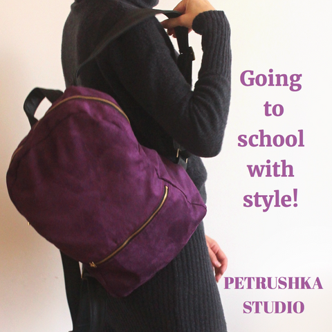Vegan purple backpack by Petrushka studio